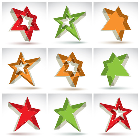 communistic: Set of 3d mesh stars isolated on white background, collection of colorful elegant lattice superstar icons, dimensional tech pentagonal objects with white connected lines, pop star icons.