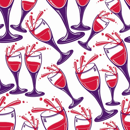 glass half full: Sophisticated wine goblets continuous backdrop, stylish alcohol theme pattern. Classic wineglasses with splatters, romantic rendezvous idea.