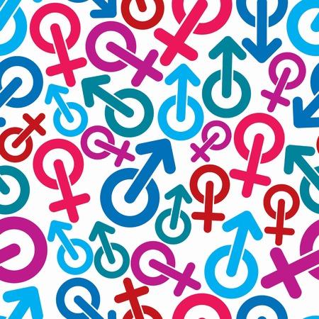性別記号、性的カテゴリ テーマのシームレスな背景。デザインでは、男性と女性のシンボルを使用できます。