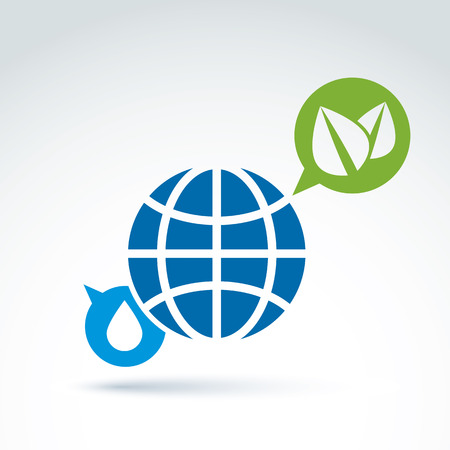 Eco-friendly conceptual symbol, earth, water drop  and speech bubble with two green leaves, abstract ecology emblem. message icon on earth and nature theme. Vector