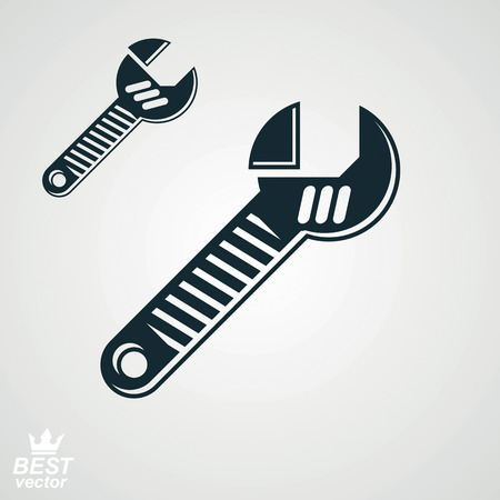 adjustable: 3d vector detailed adjustable wrench, includes additional version. Reparation utensil – dimensional classic spanner. Industry conceptual icon, manufacturing web design element. Illustration