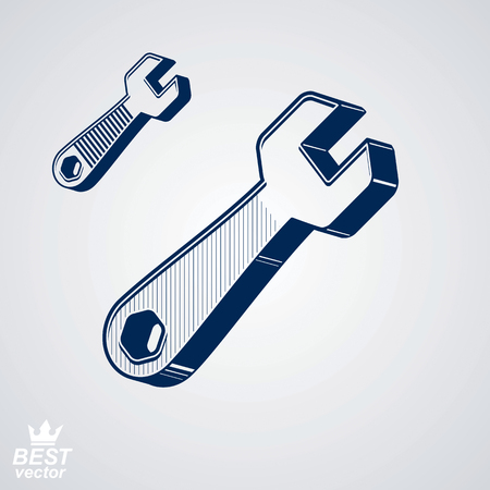 service icon: Vector detailed repair tool, service reparation utensil, additional version included. Industry conceptual icon – engineer classic wrench. Manufacturing web design element. Illustration