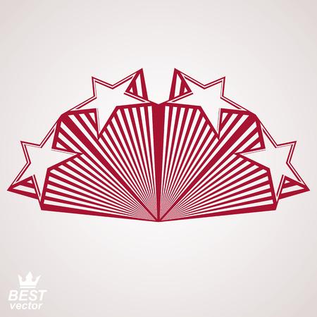 stylized design: Vector disegno stilizzato elemento, prospettiva celebrativa stelle pentagonale web emblema. Idea Union% u2013 3d oggetto araldico. Festive simbolo aristocratica, marchio aziendale.