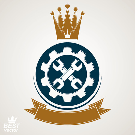 manufactory: Manufacturing award idea illustration. Simple vector crossed spanners placed in an industry cog wheel. Graphic reparation tool with imperial crown and ribbon.
