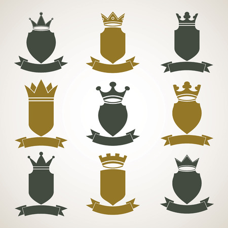 Heraldic royal blazon illustrations set - imperial striped decorative coat of arms. Collection of vector shields with king crown and stylish ribbon. Majestic element, best for use in graphic and web design. Stock Vector - 36386512