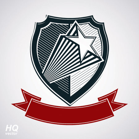 socialism: Vector shield with pentagonal comet star and decorative curvy band, protection heraldic sheriff blazon with red ribbon. Ussr socialism conceptual symbol. Award, graphical coat of arms. Illustration