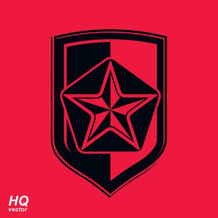 communistic: Escudo de vector con una estrella sovi�tica pentagonal de color rojo, la protecci�n blas�n her�ldico. El comunismo y el socialismo s�mbolo conceptual. Elemento de dise�o URSS.
