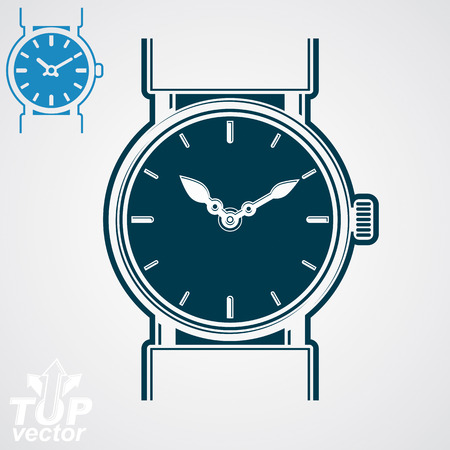 hour hand: Vector classic wristwatch illustration, elegant detailed quartz watch with dial and an hour hand. Stylized strap watch, symbolic timepiece. Web business design element – time concept.