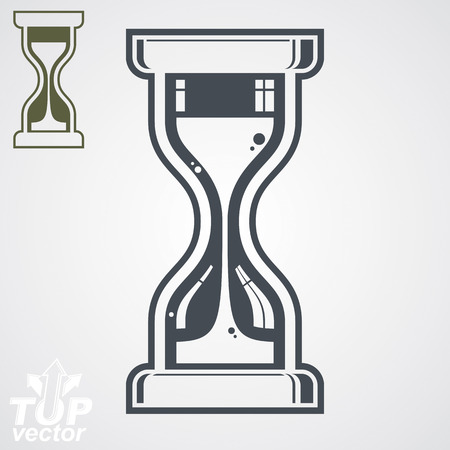 interim: highly detailed vector sand-glass illustration, includes additional version. Antique classic hourglass. Retro clock silhouette. Time idea stylized icon isolated on white.