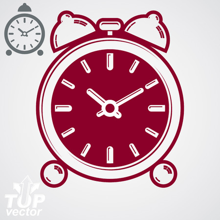clang: Vector 3d alarm clock with two symmetric bells. Wake up conceptual icon, additional version included. Graphic design element – get up theme. Simple retro timer with clang bells.