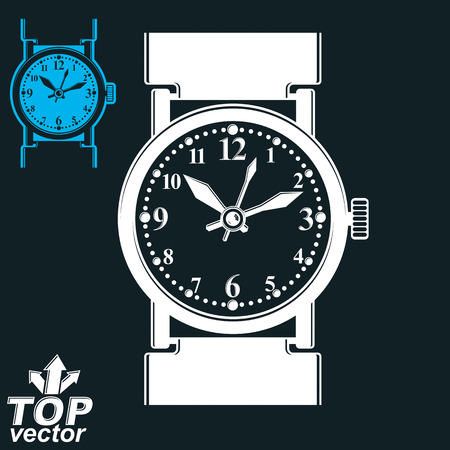 timepiece: Vector white wristwatch illustration isolated on dark background, detailed strap watch, includes invert version. Symbolic timepiece. Web time conceptual business graphic design element. Illustration