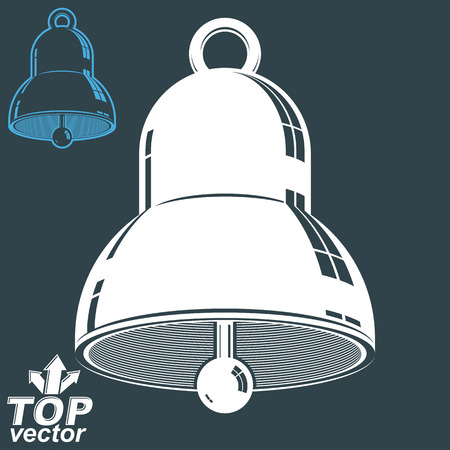 3d dimensional: Vector 3d festive bell, invert version included. Eps 8 high quality vector illustration. Ring smooth dimensional design element. Illustration