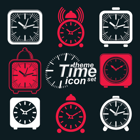 wake up call: Vector squared 3d alarm clocks with clock bell, decorative wake up conceptual icons collection. Graphic design elements – get up theme. Waiter ringing invert symbols.