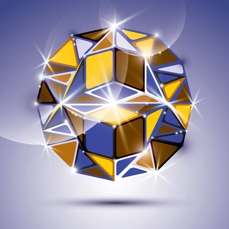 dazzling: 3D shiny mirror ball isolated on violet background. Vector fractal dazzling abstract illustration - jewel. Gala theme. Fantastic kaleidoscope object with geometric figures.