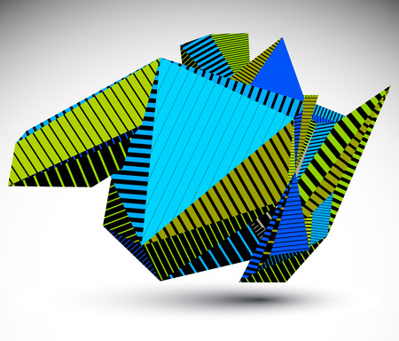 misshapen: Cybernetic contrast element constructed from simple geometric figures. Colorful misshapen acute object with stripes, dimensional symbol for technology projects and graphic design. Illustration
