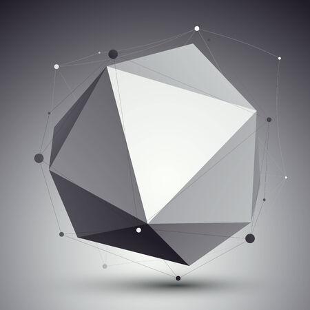 apex: Geometric vector abstract 3D complicated lattice backdrop, single color conceptual technological illustration. Illustration