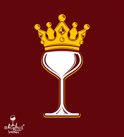 sophisticated: Sophisticated luxury wineglass with golden imperial crown. Leisure and lifestyle theme vector goblet. Rendezvous conceptual illustration.