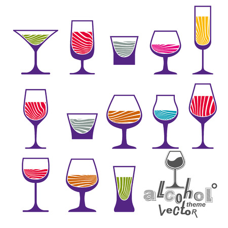 glass half full: Classic vector goblets collection – martini, wineglass, cognac and whiskey. Alcohol theme illustrations. Lifestyle graphic design elements, set of simple glasses.