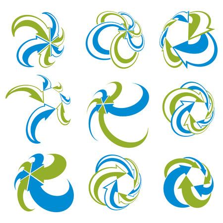 infinite loop: Infinite loop arrows vector abstract symbol set, graphic design template collection, color 3d pictogram set.