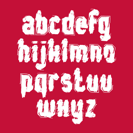verb: Vector white graffiti hand-painted letters isolated on red background, stroked lowercase art script.