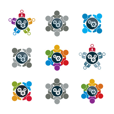 industrial design: Vector  illustrations of gears - enterprise system theme, business strategy concept. Cog-wheels, moving parts and people, components of manufacturing process icons set.