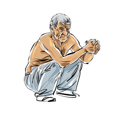 hoary: Hand drawn old man illustration on white background, grey-haired squatting man.