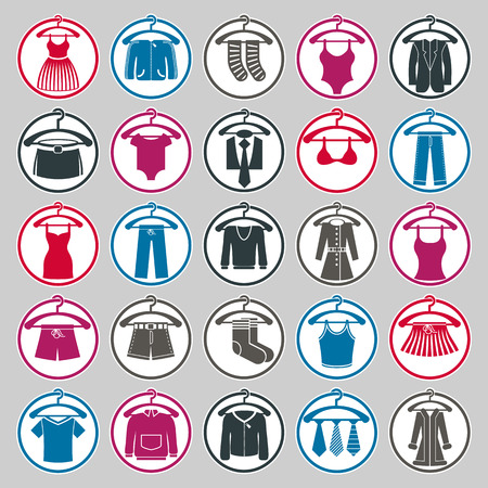 petticoat: Clothes on a hangers icon set, vector collection of fashion signs.
