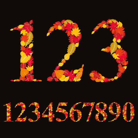 numerals: Numbers made with leaves, floral numerals set, vector illustration. Illustration