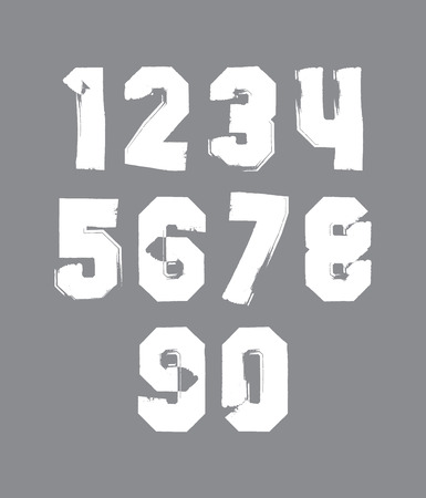 Handwritten contemporary vector digit set, doddle hand-painted smear numerals. Vector