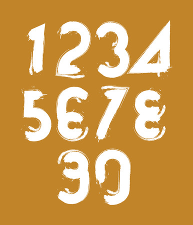Calligraphic brush numbers, hand-painted white vector numeration. Vector