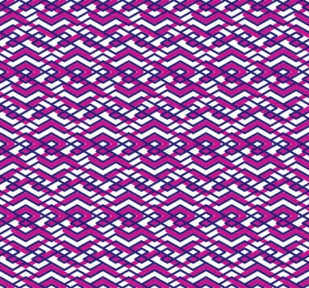 interweave: Bright abstract seamless pattern with interweave lines. Vector colorful wallpaper with stripes. Purple endless decorative background.