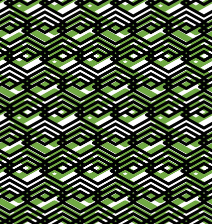 parallelogram: Geometric lined seamless pattern, colorful vector endless background. Symmetric decorative motif texture with intertwine rhombs created from black lines. Green layered ornate covering, best for web and graphic design. Illustration
