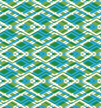 covering: Geometric symmetric lined seamless pattern, colorful vector endless background. Decorative net splicing motif texture with rhombs. Green overlay ornate covering, best for web and graphic design.