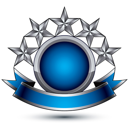 sophisticated: Sophisticated vector emblem with 5 silver glossy stars and blue wavy ribbon, 3d decorative design element