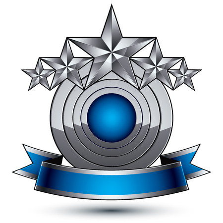 magnificent: Heraldic 3d glossy blue and gray icon - can be used in web and graphic design, five-pointed silver stars placed over rounded magnificent element with elegant ribbon Illustration