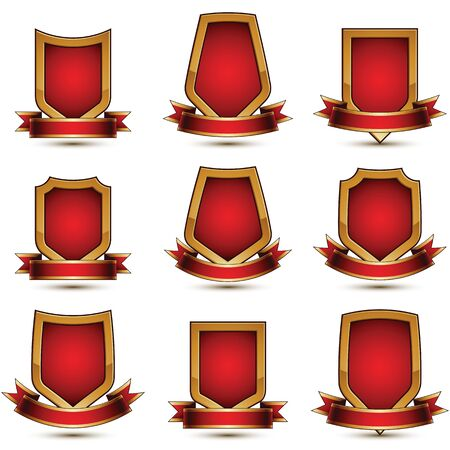 awarded: Set of geometric vector glamorous golden elements isolated on white backdrop, 3d polished lockets, protection shields with red ribbon.  Decorative branded symbols collection.
