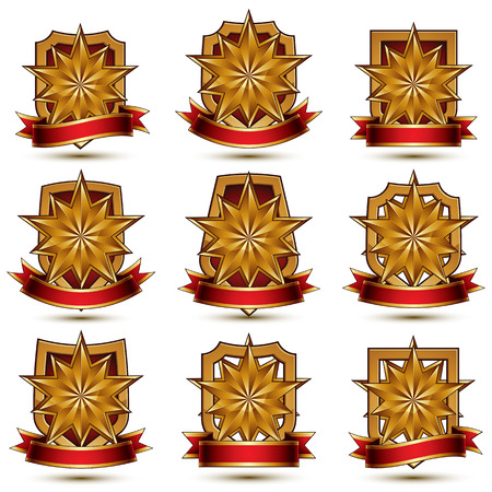 extraordinary: Set of geometric vector glamorous golden elements isolated on white backdrop, 3d polished stars, protection shields with red ribbon. Five stars branded symbols collection. Illustration