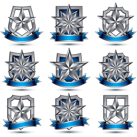 silvery: Set of silvery heraldic 3d glossy icons, best for use in web and graphic design, pentagonal silver stars, clear vector luxury symbols.