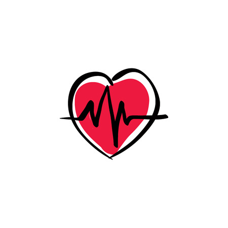Illustrated heart with ekg, vector cardiology icon. Vector