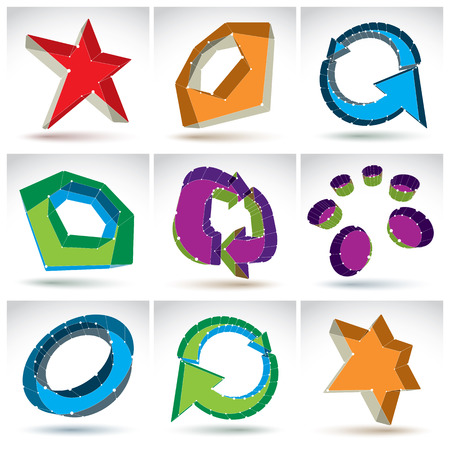 Set of 3d mesh colorful abstract objects isolated on white background, collection of stylish geometric icons, bright dimensional tech symbols with white connected lines Vector