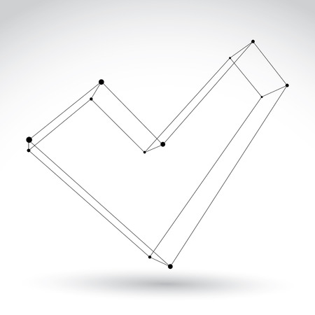 verify: 3d mesh monochrome validation sign isolated on white background, black and white sketch checkmark icon, single color dimensional tech verify symbol
