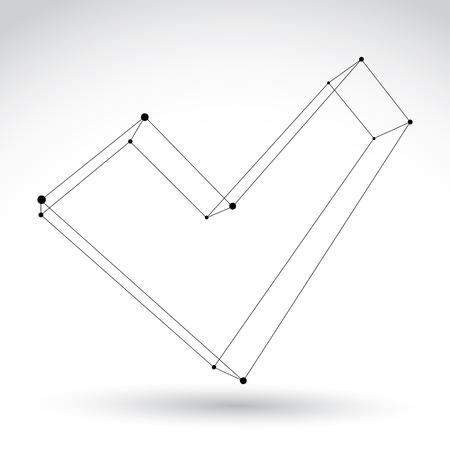 verify: Mesh 3D segno convalida monocromatico isolato su sfondo bianco, bianco e nero icona schizzo segno di spunta, unico colore tecnologia dimensionale verificare simbolo Vettoriali