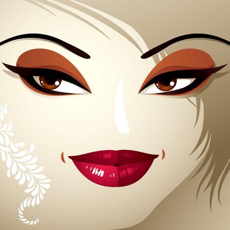 coquete: Emoções faciais de uma mulher muito jovem, com um corte de cabelo moderno. Coquette senhora visage, expressivos humanos olhos, lábios e fechaduras.
