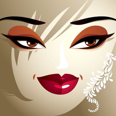tricky: Attractive woman with stylish bright make-up and contemporary hairstyle. Sexy Caucasian tricky lady. Decorative portrait.