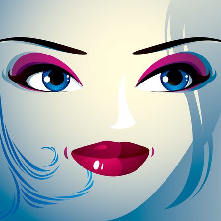 eyebrows: Face makeup. Lips, eyes and eyebrows of an attractive woman displaying happiness. Fashionable female haircut.