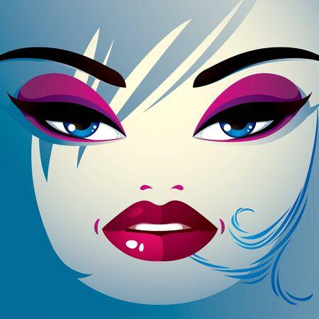 coquete: Coquette mulher olhos e l�bios, maquiagem e penteado elegante. Pessoas emo��es faciais.