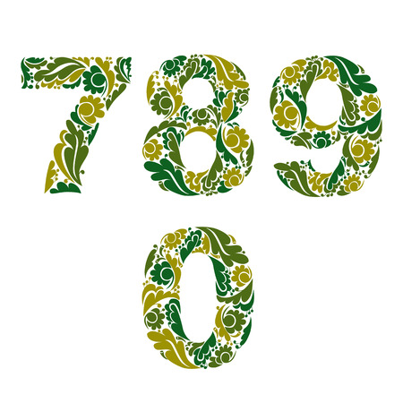 0 9: Spring style vector digits set, numbers with eco floral ornament. 7, 8, 9, 0.