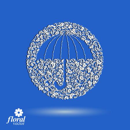 brolly: Hermosa paraguas floreada. Accesorio estilizado - sombrilla creativo, paraguas ilustraci�n gr�fica, mejor para su uso en dise�o publicitario y web.