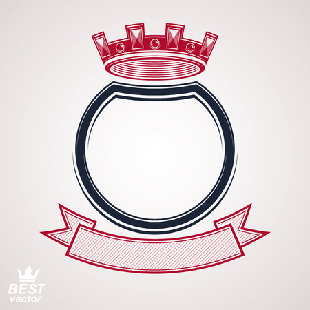 coronet: Vector circle with 3d decorative royal crown and festive ribbon, luxury coat of arms. Heraldic coronet symbol, best for graphic and web design.