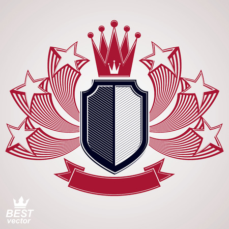 imperial: Royal stylized vector graphic symbol. Shield with 3d flying stars and imperial crown.